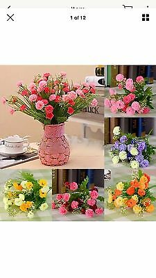 48 Artificial Silk Flower Carnation Bouquet Wedding Home Decoration Rose pink