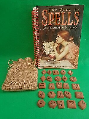 Book of Spells and Set of 25 stone runes in Hessian  Pouch (L3)