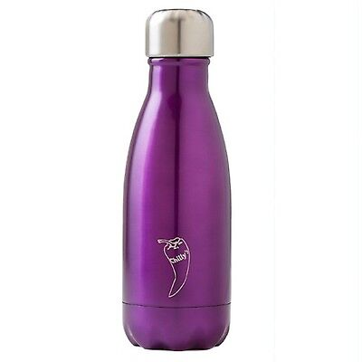 Chilly's Purple Shiny Thermal Vacuum Insulation Stainless Drinks Bottle 260ml