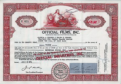 Official Films (Industries) Inc., Delaware, 1975, 4 1/2%  (3 Shares Preferred)