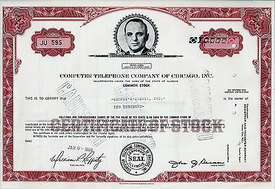 Computer Telephone Company of Chicago Inc., Illinois, 1969 (10.000 Shares)