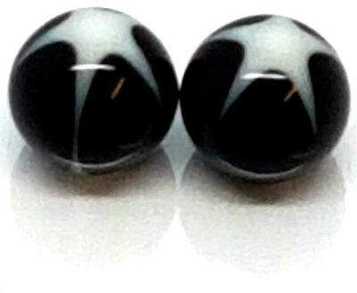 New UV Acrylic1.6mm X 5mm Round Bead Replacement Spare Black Balls White Design