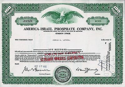 AMERICA-ISRAEL Phosphate Company Inc. (ULTRAMAR MINERALS),  1969 (100 Shares)