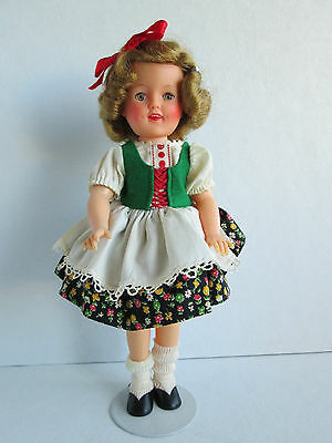 """Vintage Shirley Temple 12"""" Vinyl Doll Wearing Movie Classics Heidi Outfit"""