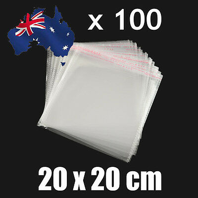 100pcs Self Adhesive Self Seal Cellophane Resealable Clear Plastic Bags 20 x20cm