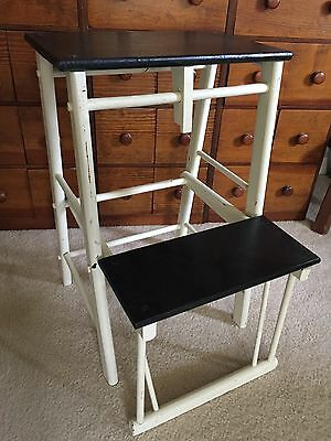 Arts & Crafts ~ Vintage White & Black SOLID WOOD FOLDING STOOL/ CHAIR