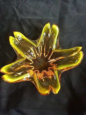 Vintage Clear Yellow Amber Glass Bowl Fruit Murano ?