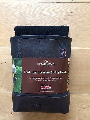 BRADLEYS Traditional Brown Leather Gardening String Tool Pouch