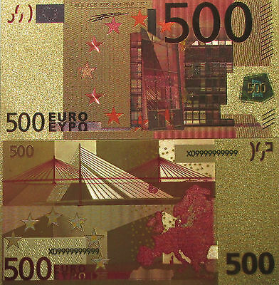 Lot of 100 banknotes 500 EURO Gold foil polymer