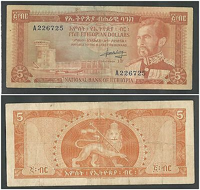 Ethiopia 5 Dollars ND (1966) in (VF) Condition Banknote P-26