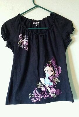 Womens Ladies Betty Boop Black Top Shirt Size Small Short Sleeve Relax