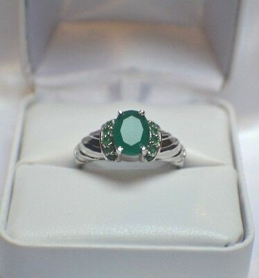 3.64 ct. NATURAL GENUINE  AFRICAN EMERALD .925 STERLING  SILVER COCKTAIL RING