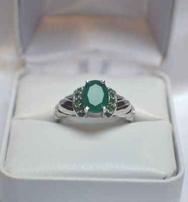 GLAMOROUS  3.64 ct. NATURAL GENUINE  AFRICAN EMERALD .925 STERLING  SILVER RING