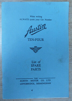 Austin Ten (10) Illustrated list of Spare Parts.  Good, clean copy.
