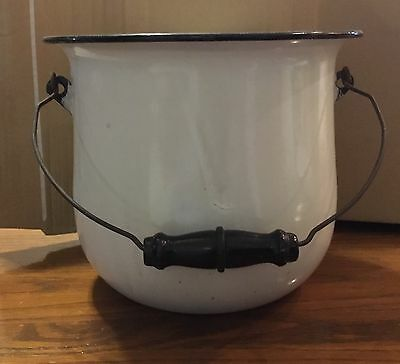 "Vintage 8 1/2"" Enamelware Chamber Pot Enamel Commode W/handle"
