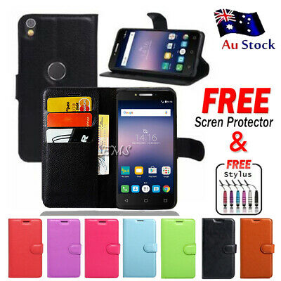 Wallet Leather Card Holder PU Case Cover For Optus X Sleek + FREE Screen Guard