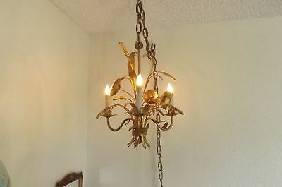 Vintage GREAT Hollywood Regency Gilded Gold Candle Wheat Blossom Swag Lamp Light