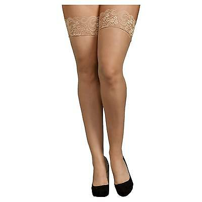 iCollection® Women's Plus Size Lace Top Sheer Thigh High Stockings - Nud...
