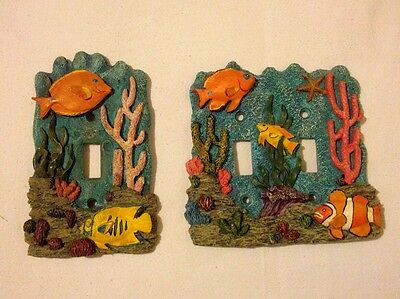 Pair 3D Coral-reef Fish Wall Switch Plate Outlet Cover Nautical Decoration Theme