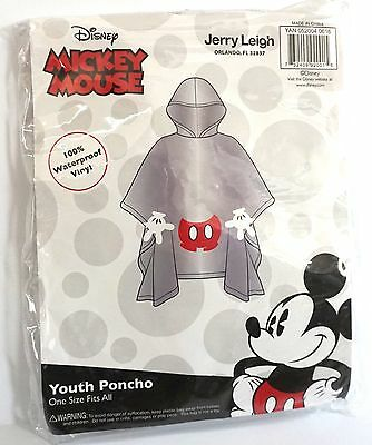 Disney Youth Mickey Mouse Parts Clear Rain Poncho Keep Dry
