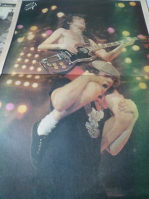 Ac/dc Angus Young & Brian Johnson Classic Poster From 1981 Magazine Stunning