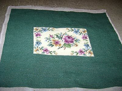 """Vintage Finished Needlepoint Picture...Dark Green w/Roses...13""""x 16.5"""""""
