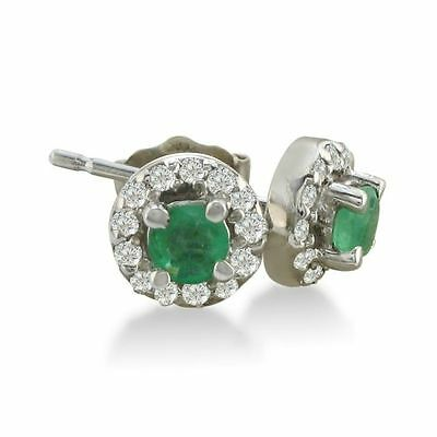 14K White Gold 1/3Ct Emerald Stud Earrings With Pave Set Diamonds