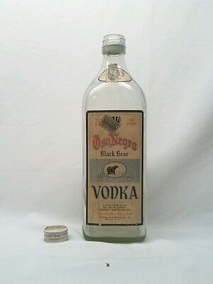 Oso Negro Black Bear Vodka Bottle with Tax Stamp 750 ml Empty Clean Decorative