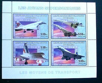Aviation Concorde Sheet Souvenir Mnh Stamps Of Congo 2006