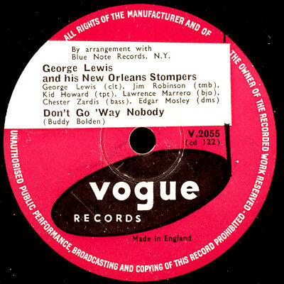 GEORGE LEWIS & HIS NEW ORLEANS STOMPERS Don't go 'way nobody    78rpm   X2524