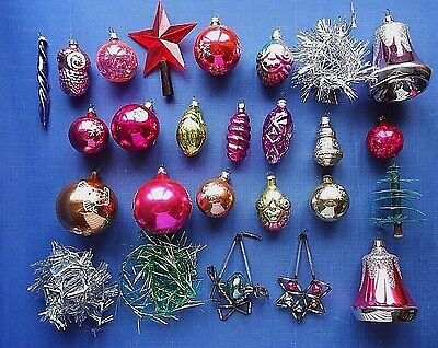 Vintage Old Russian Soviet Decoration Glass ornament toys set of 23 New Year