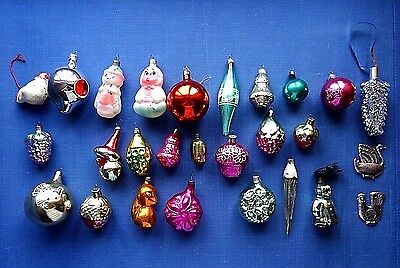Vintage Old Russian Soviet Decoration Glass ornament toys set of 27 New Year