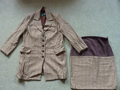 FORMES - Maternity Skirt Suit - Size 10 - cost £285 - Brown & Cream