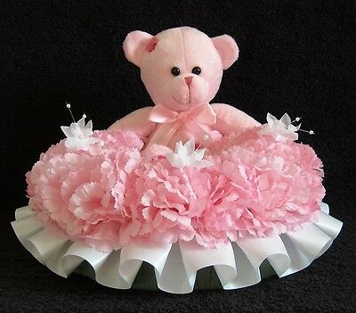 Silk Flower Memorial/funeral/grave Tribute Wreath With A Teddy.