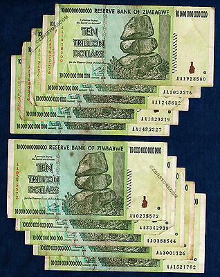 10 Trillion Zimbabwe Dollars x 10 Banknotes Authentic AA 2008 Lot = 100 Trillion