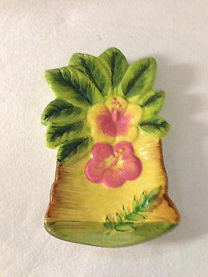Alco Hawaiian Hibiscus floral Palm Tree Spoon Rest New Ceramic
