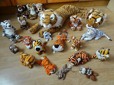 Bundle Of 21 Large & Small Plush Soft TIGERS & LEOPARDS 32 ins Long max