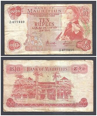 Mauritius 10 Rupees 1967 at (F-VF) Condition Banknote P-31c