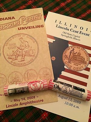 2009 Lincoln Bicentennial Penny Rolls Stamped And Cancelled