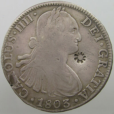 Mexico 8 Reales 1803 Countermarked Sun #t9 271