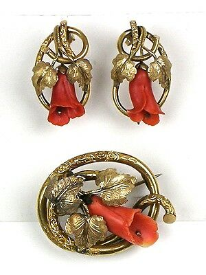 RARE Antique Hand Carved Salmon Coral Set Brooch Earrings Pinchbeck GF WOW