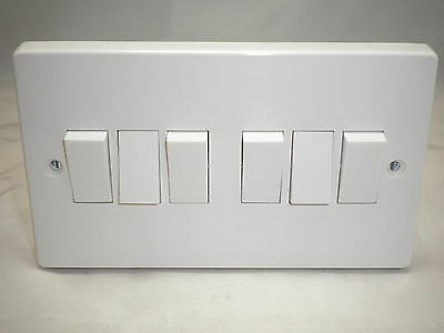 Contactum 2762 6 Gang 2Way 10A Plateswitch White Moulded