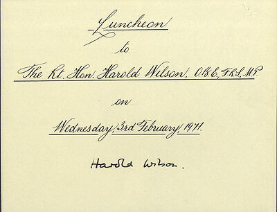 Harold Wilson ' British Prime Minister ' Hand Signed Luncheon Book Page.