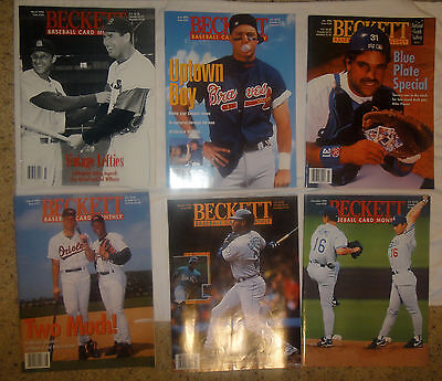 Lot of (6) Beckett Sports Card Price Guides Baseball 1995-1996 VGUC