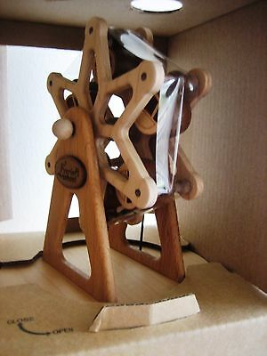 Wooderful Life Hand Made Wooden Music Box Ferris Wheel And Carriage, orig Box