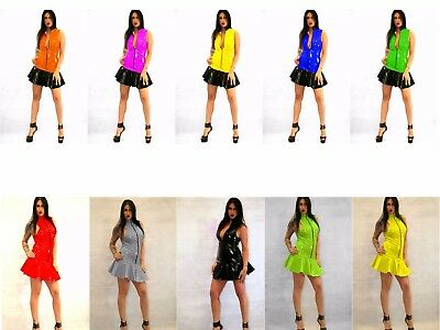 5c6cfca2c4a FETISH PVC DRESS Black White Blue Purple Green Yellow 6-16 UK New With Tags