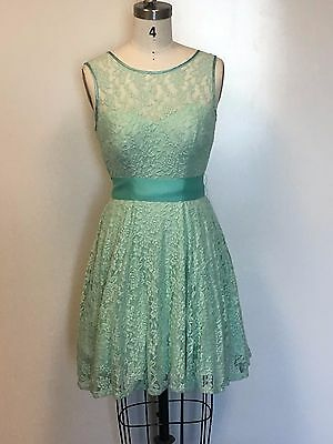 New Juno Collection Womens Mint Lace Short Dress with Tulle Lining Satin Bow