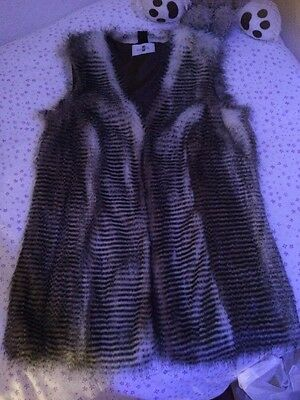 Luxurious Faux Fur WaistCoat/Gillet/sleeveless Coat, Fully Lined. New. Size 16