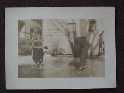 FATHER & YOUNG SON PLAYING ICE HOCKEY IN THE SIDE YARD Vtg PHOTO