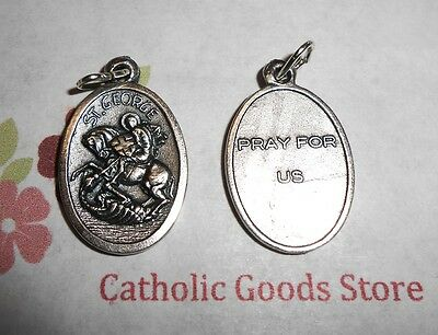 St George / Pray for Us -  Italian Silver tone  1 inch Medal